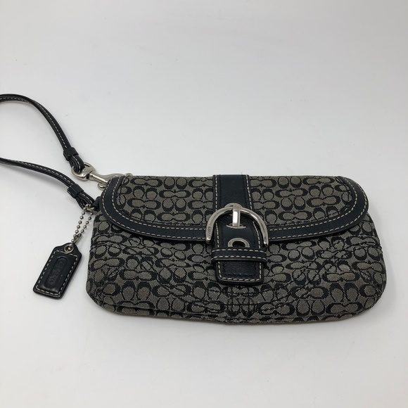 Coach Handbags - COACH Clutch Wristlet Monogram Black Grey